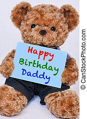 blauwe , gezegde, teddy beer, meldingsbord, jarig, vasthouden, papa, vrolijke