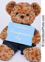 blauwe , gezegde, teddy, grootouders, beer, meldingsbord, vasthouden, alledaags, dag