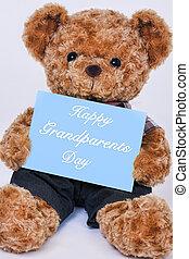 blauwe , gezegde, teddy, grootouders, beer, meldingsbord, vasthouden, dag, vrolijke
