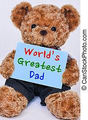 blauwe , gezegde, teddy, wereld, beer, meldingsbord, geweldig, vasthouden, papa