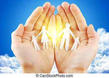 blauwe , gezin, zon, hemel, hand, papier