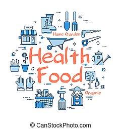 blauwe , gezondheid, concept, spandoek, voedingsmiddelen, ...