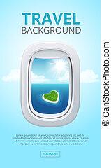 blauwe , glanzen, lucht., zakelijk, patrijspoorten, reizen, hemel, venster, illustratie, realistisch, vliegtuig, vector, closeup, views., achtergrond, schoonmaken, vliegtuig