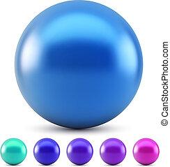 blauwe , glanzend, bal, vector, illustratie, vrijstaand, op...