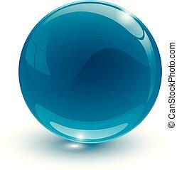 blauwe , glazig, bal, op wit, achtergrond