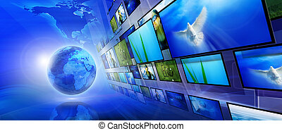 blauwe , (global, communicatie, concept), achtergrond,...