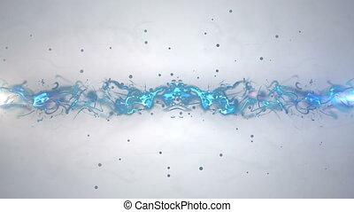 blauwe , gloed, lijnen, met, particles.