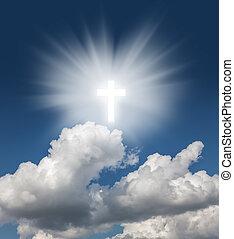 blauwe , gloeiend, hemel, kruis, heilig