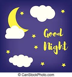blauwe , goed, wolken, maan, achtergrond, night.