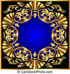 blauwe , gold(en), cirkel, ornament, achtergrond