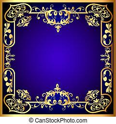blauwe , gold(en), frame, groente, model