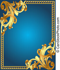 blauwe , gold(en), frame, ornament, achtergrond, groente