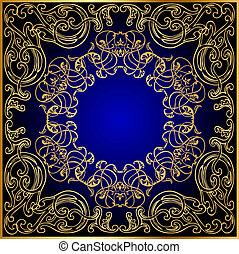 blauwe , gold(en), ornament, beurt, zwarte achtergrond