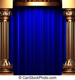 blauwe , gordijnen, fluweel, goud, achter, kolommen