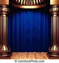 blauwe , gordijnen, fluweel, goud, achter, vector, kolommen