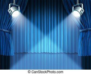 blauwe , gordijnen, fluweel, schijnwerpers, bioscoop