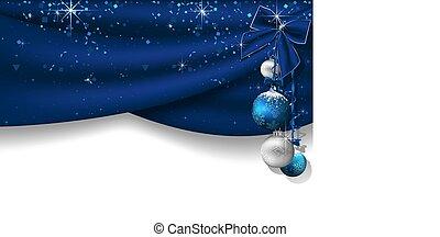 blauwe , gordijnen, kerstmis, achtergrond