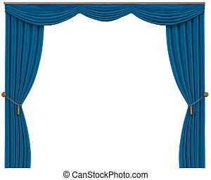 Blauwe gordijnen open Illustraties en Stock Kunst. Zoek onder 674 ...