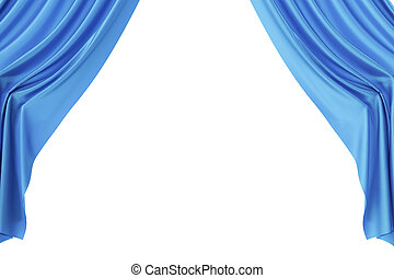 blauwe , gordijnen, theater, bioscoop, center., licht, spotlit, vertolking, zijde, 3d