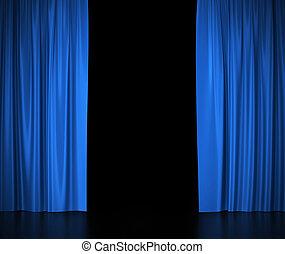 blauwe , gordijnen, theater, bioscoop, center., licht, spotlit, zijde, open