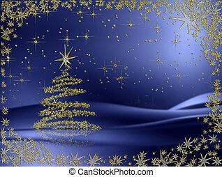 blauwe , gouden achtergrond, boompje, sterretjes, kerstmis