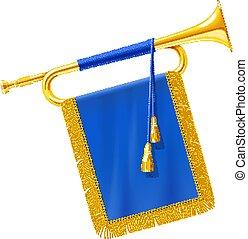 blauwe , gouden, banner., koninklijk, hoorn, instrument, trompet, muzikalisch