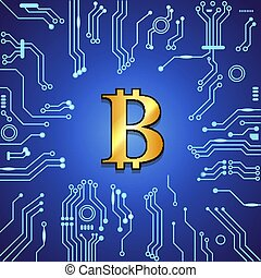 blauwe , gouden, bitcoin, achtergrond.