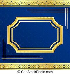 blauwe , gouden, frame, vector, achtergrond