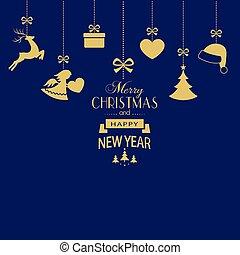 blauwe , gouden, set, achtergrond, donker, versieringen, hangend, kerstmis