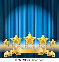 blauwe , gouden, theater, reflectie, achtergrond, realistisch, sterretjes, gordijn, roeien