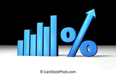 blauwe , grafiek, percentage