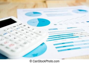 blauwe , grafieken, op wit, papier, met, rekenmachine