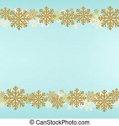 blauwe , grens, winter, achtergrond, sneeuwvlok