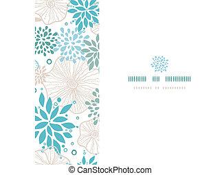 blauwe , grijs, model, frame, seamless, planten, achtergrond, horizontaal