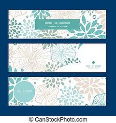 blauwe , grijs, set, model, planten, vector, achtergrond, horizontale banners