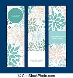 blauwe , grijs, set, verticaal, model, planten, vector, achtergrond, banieren