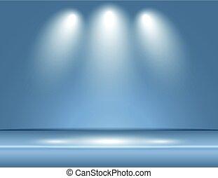 blauwe , grijs, stralen, kamer, licht, vector, studio, achtergrond, schijnwerper