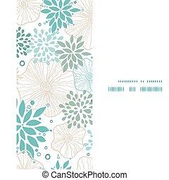 blauwe , grijs, verticaal, model, frame, seamless, planten, vector, achtergrond