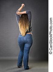 blauwe , grijs, vrouw, jeans, plus, achtergrond, studio, model, grootte, xxl