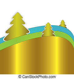 blauwe , groene, en, gouden, kerstmis, achtergrond