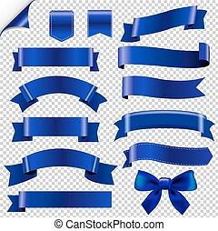 blauwe , groot, set, linten