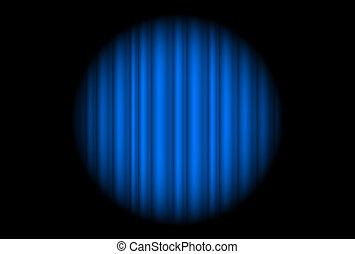blauwe , groot, vleklicht, gordijn, toneel