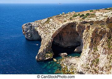 blauwe , grot, bekende & bijzondere plaatsen, natuur, -, malta, een
