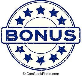 blauwe , grunge, bonus, rubberstempel, achtergrond, zeehondje, ster, witte , ronde, pictogram