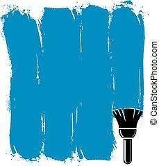 blauwe , grunge, illustration., gecreëerde, muur, brushstrokes, vector, stalen, conceptueel, paintbrush., acrylic schilderstuk