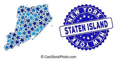 blauwe , grunge, kaart, zeehondje, staten, ster,...