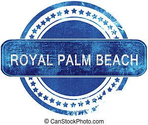 blauwe , grunge, koninklijk, vrijstaand, stamp., palm, white., strand