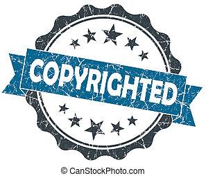 blauwe , grunge, ouderwetse , copyrighted, vrijstaand, zeehondje, witte