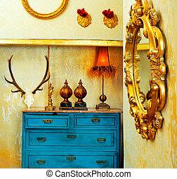 blauwe , grunge, ouderwetse , lade, woning, barok