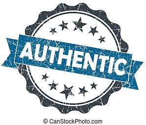 blauwe , grunge, ouderwetse , vrijstaand, zeehondje, witte , authentiek